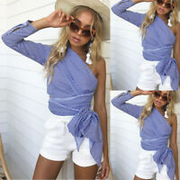 Fashion Women Off Shoulder Tops Long Sleeve Pullover Casual Blouse Summer Shirt