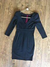 Ted Baker Black Party Dress, Cropped Sleeves, V-Neck, Shoulder Pads, UK8