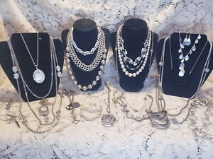 22 Piece Modern and Vintage Silvertone Mixed Necklace Lot - Monet, Trifari