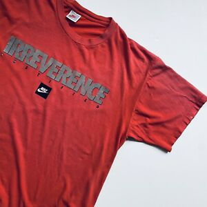 Vintage Nike Irreverence Justified Red Logo Graphic Tee Gray Tag Rare Size Large