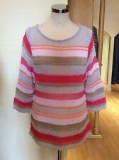 Aldo Martins Top Size 10 BNWT Pink Grey Beige Coral Stripe RRP £120 Now £48