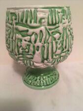 New ListingVintage Caffco Planter # E3687 Mcm Design Funky Green And White Ceramic 5.5�x4�