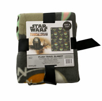 Baby Yoda Plush Travel Blanket 40 x 50 Disney Star Wars The Mandalorian Grey NEW