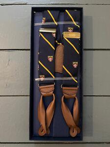 Polo Ralph Lauren Braces Striped Navy/Gold/Brown Leather BNIB Suspenders