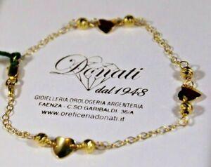 Bracciale Donna in Oro Giallo 18 KT 750/°°° con Cuori e Sfere diamantate