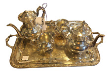 WM Rogers and Son Gold Plated Engraved Tea Set - 5 Pc. Set