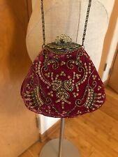 MOYNA Couture Crushed Velvet Embellished Clutch, Bag, Antique Frame, Beautiful
