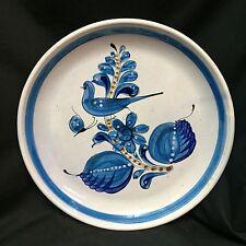 "Vintage Mexico Pottery Platter Deep Plate 13.75"" Round Blue Bird Signed Folk Art"