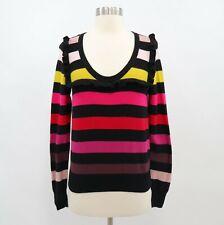 Sonia Rykiel H&M Sweater Pullover M Medium Ruffles Striped Multicolor Cotton