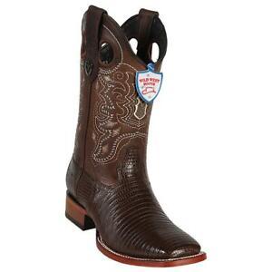 Men's Wild West Genuine Teju Lizard Western Boots Wide Square Toe Leather Sole