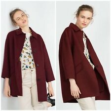 Zara Wool Burgundy Cocoon Handmade Coat Jacket Blazer Size M - UK 10 - BNWT
