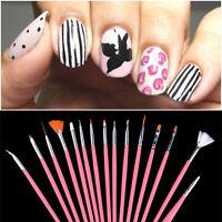 15 Pcs Drawing Dotting Painting Pen Pink Nail Art Gel Acrylic Polish Brush Set