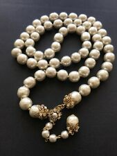 "Sign Miriam Haskell Huge Baroque Pearls Rhinestone Necklace Jewelry 35"" Long"