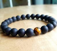 Boho Mens Womans Matte Onyx & Tigers Eye Yoga Meditation Beaded Stretch Bracelet