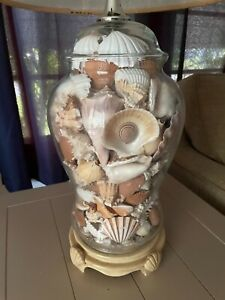Sea Shell Filled Glass Table Lamp
