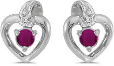 10k White Gold Round Ruby And Diamond Heart Earrings