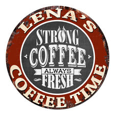 CWCT-0259 LENA'S COFFEE TIME Chic Tin Sign Decor Gift Ideas