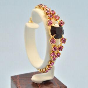 Vintage Bracelet 1950s Elegant Red & Pink Crystal Goldtone Bridal Jewellery