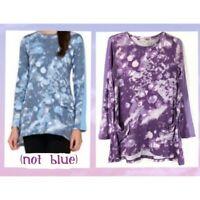 LOGO Lori Goldstein Size 2X Purple Tie Dye Tunic Draped Pockets, Chiffon Insets