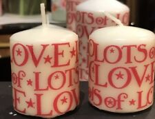 EMMA BRIDGEWATER Starry SKIES RED Design HAND DECORATED VOTIVE CANDLE SET OF 2
