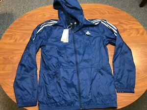 MENS NEW WITH TAGS ADIDAS NAVY BLUE ZIP UP HOODED WINDBREAKER JACKET SIZE LARGE