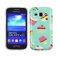 Hülle f Samsung Galaxy Ace 3 Schutz Tasche Case Cover Etui Handy Cupcake Muffin