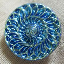 New listing Beautiful Glass Shiny Electric Blue Overlapping Spiral Waves Button 7/8th in
