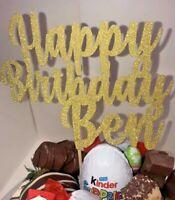 Custom Happy Birthday Cake Topper Glitter Any Name Word Custom Gold