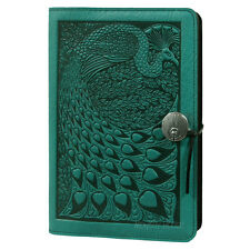 "Peacock Large 6"" x 9"" Teal-Blue Leather Journal Oberon Design COMBINED SHIPPING"