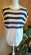 Bacianco Women's Light Weight Sleeveless Knit Top Blue & White Stripe Size XL