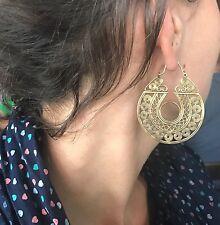 Divine Goddess Tribal Hoop Boho Earrings in Brass