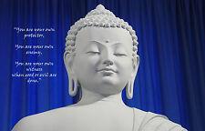 Incorniciato stampa-BIANCO STONE Buddha su sfondo blu con preventivo buddista (ART)