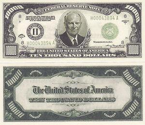 3 Eisenhower $10,000 Patriotic Novelty Bill Note Lot