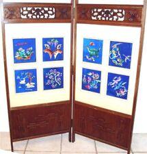 Vintage Japanese Room Divider Screen 2 Panel Embroider