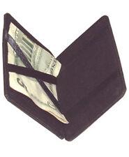 BLACK Genuine LEATHER MONEY Safe Credit Magic Wallet Note Holder for Men
