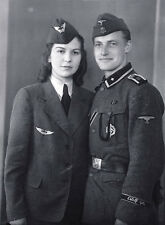B&W Photo German Military Couple Portrait WWII WW2 World War Two Germany