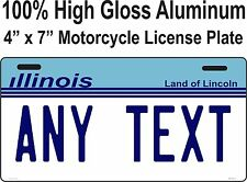 PERSONALIZED ILLINOIS STATE VANITY MOTORCYCLE LICENSE PLATE WITH CUSTOM TEXT.