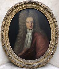 École Anglaise vers 1680 Huile s/ Toile Portrait d'Homme Peinture Cadre XVIIème