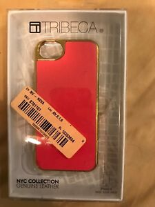 Tribeca Leather Hard Shell Case for Apple iPhone 5 Gold Trim with Pink