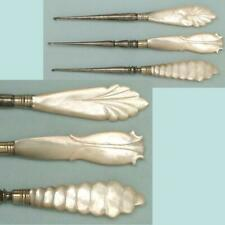 3 Antique Mother of Pearl Crochet Hooks * English  * Circa 1880