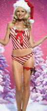 Leg Avenue 2 Piece Candy Cane Mesh Cami Set, S/M, Red/White