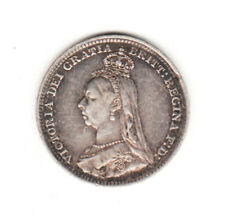 1891 Great Britain Queen Victoria  Sterling Silver Threepence.