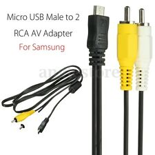Micro USB Male to 2 RCA AV Adapter Audio Video Cable For Samsung Mobile US