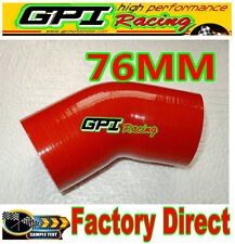 """Silicone 45 degree Elbow 76mm 3"""" inch Turbo Intercooler hose RED NEW"""