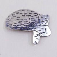 vtg Native American sterling 925 silver cat brooch, Southwestern handmade pin