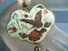 LARGE CLOISONNE BUTTERFLY HEART PENDANT NECKLACE With Fushia Flowers  Vintage