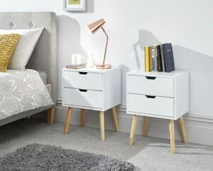 GFW Nyborg 2 Drawer Bedside Table with Wooden Legs available in 4 Colours