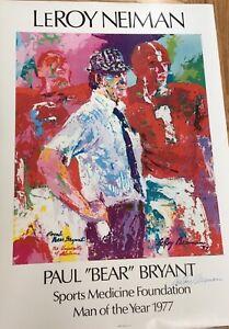 "Leroy Neiman, Paul ""Bear"" Bryant, hand signed poster.Original 1977 LeROY NIEMAN"