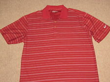 Nike Golf Mens Red & White Athletic Polo Collared Tennis Jersey Shirt L large