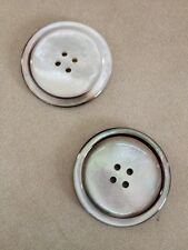 Pair of Vintage Glossy Natural Genuine Mother of Pearl Four Hole Buttons 3.5cm